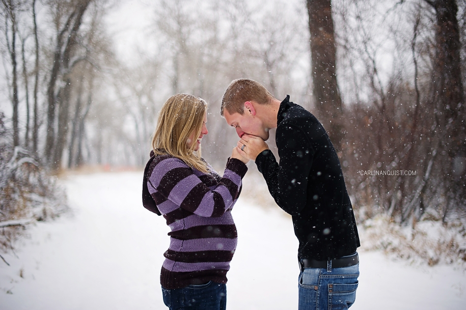 Daniel & Jessica + One // Maternity Photos | Winter | Snow | White | Calgary Maternity Photographers | Carlin Anquist Photography