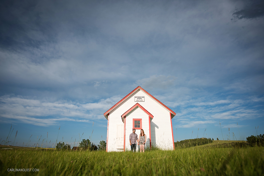 One Room School House | Red Deer Lake School Engagement Photos | Carlin Anquist Photography
