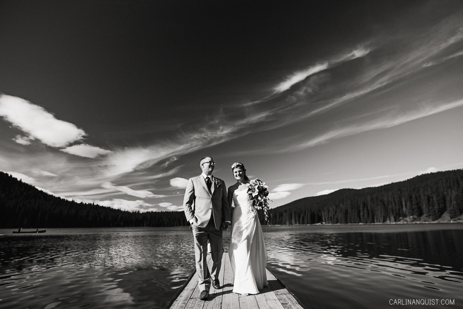Bride & Groom on Dock at Whispering Pines Bible Camp, AB