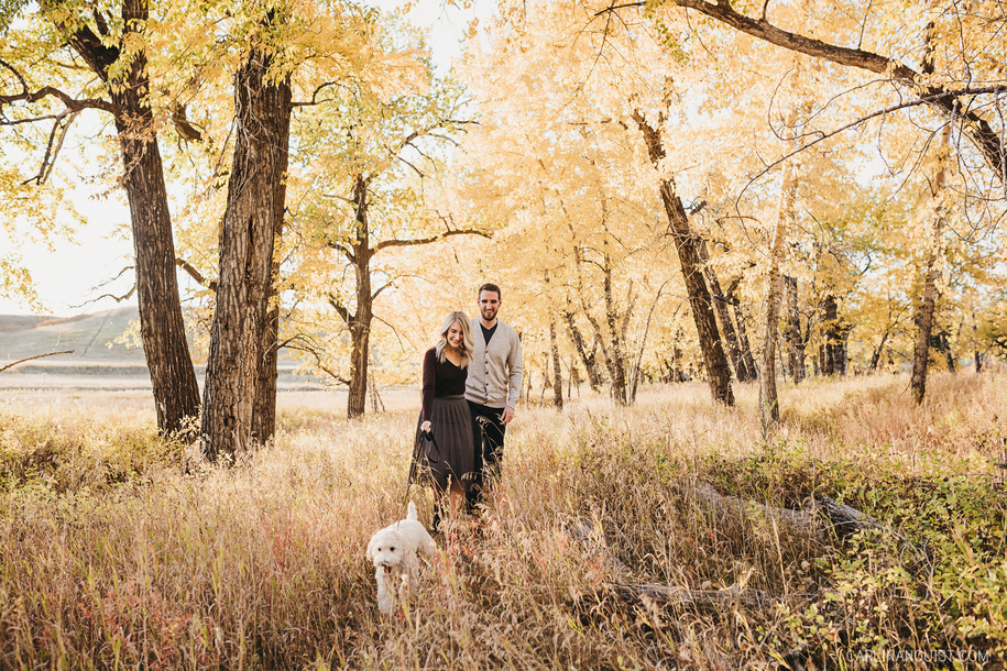 Calgary Engagement Photo with Dog